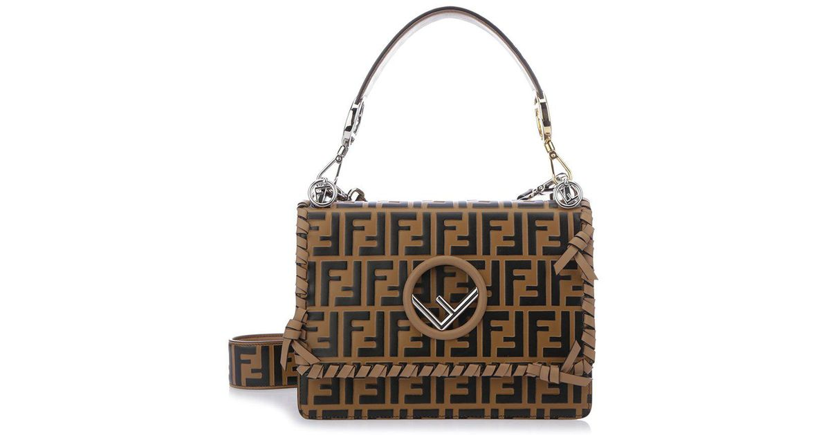 on sale low price sale superior quality Fendi Leather Kan I F Print Shoulder Bag in Brown - Lyst