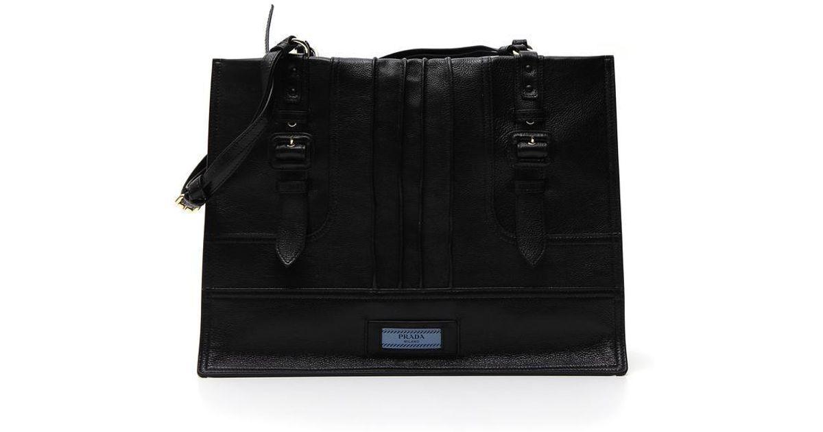 Lyst - Prada Side Zip Etiquette Tote Bag in Black e28a550577b04