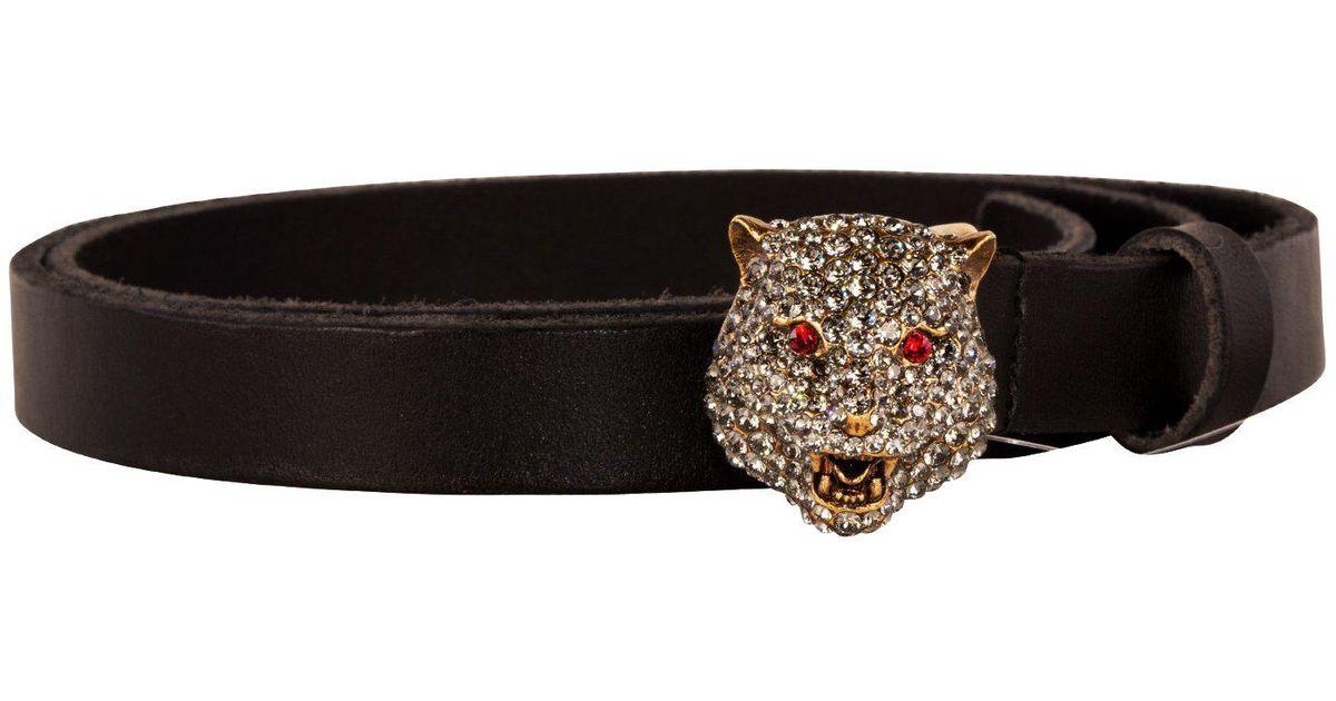 39ce8079c1e Gucci Tiger Buckle Belt in Black - Lyst