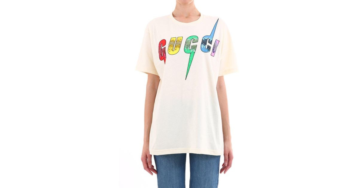 49449d71 Lyst - Gucci Blade Print Oversized T-shirt in White