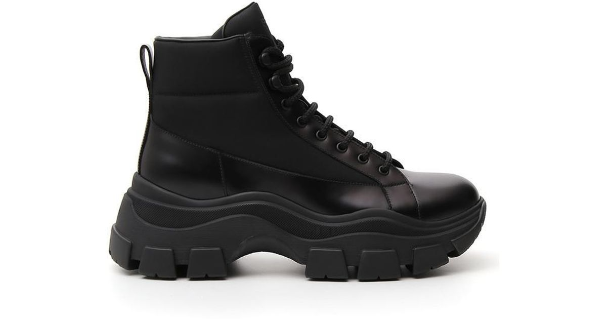 Prada Leather Chunky Hiker Boots in