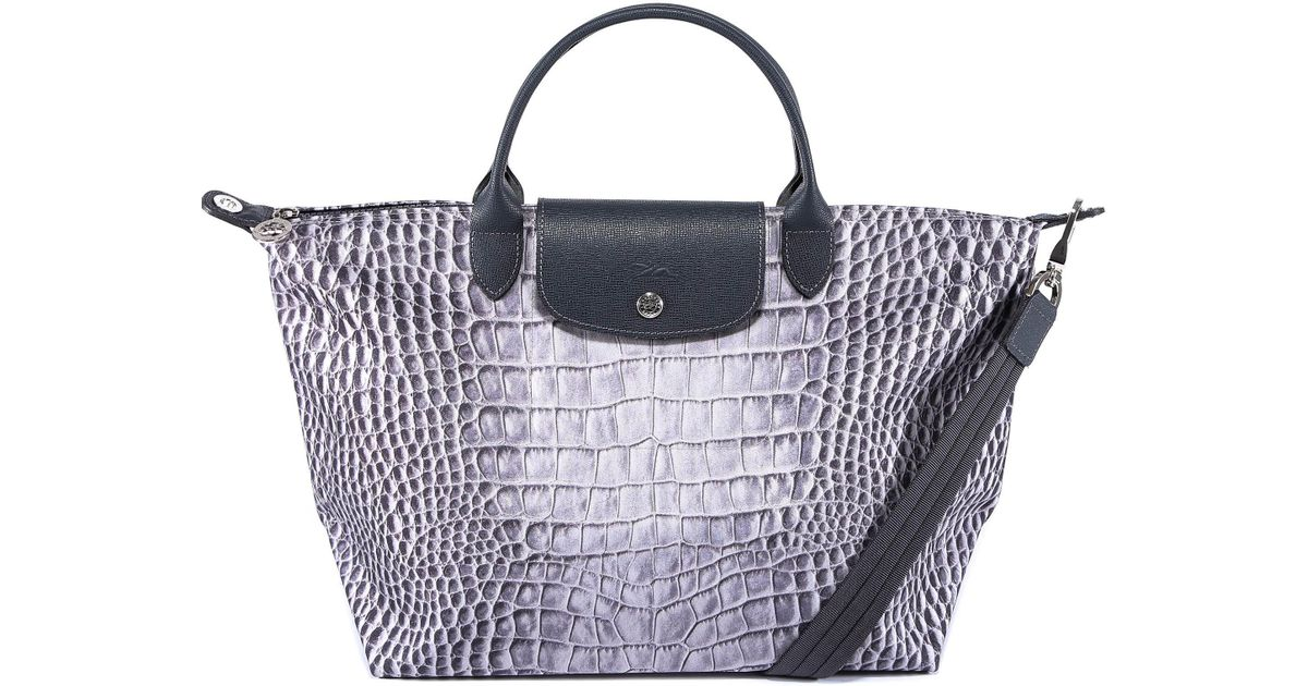 Longchamp Le Pliage Crocodile Handbag in Gray - Lyst fbcec6f16efbe