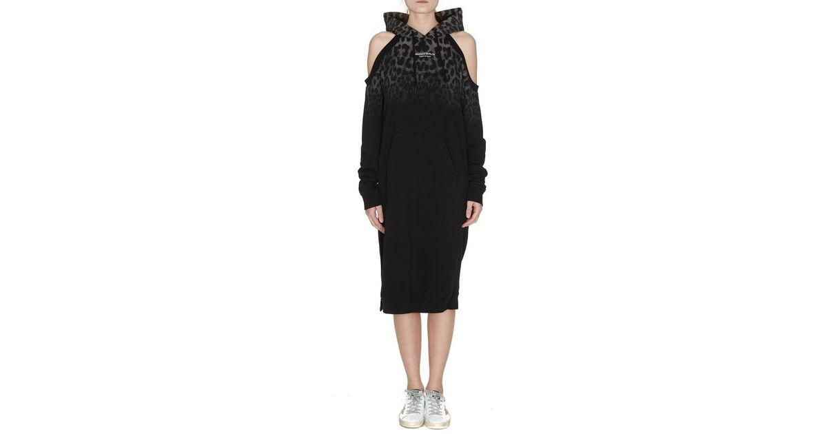 Lyst Marcelo Burlon Shoulder Less Hoodie Dress In Black