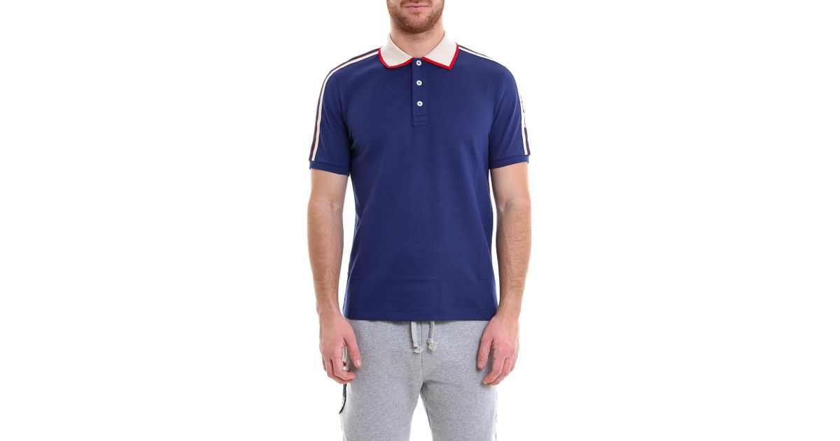 a289d38a71e2 Gucci Logo Ribbon Polo Shirt in Blue for Men - Lyst