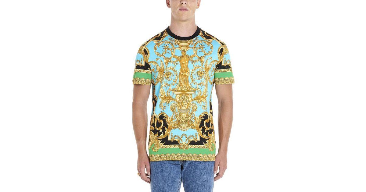 d30b0e6e10 Versace - Blue Barocco Print Crewneck T-shirt for Men - Lyst