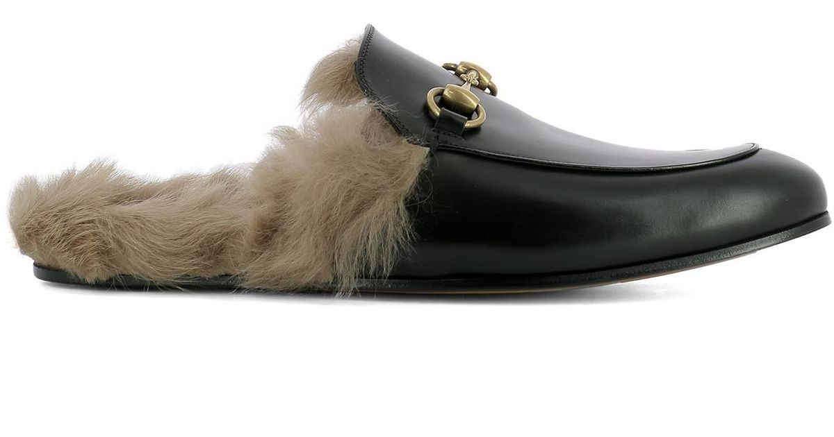 052f69b71c8 Lyst - Gucci Princetown Fur Mules in Black for Men