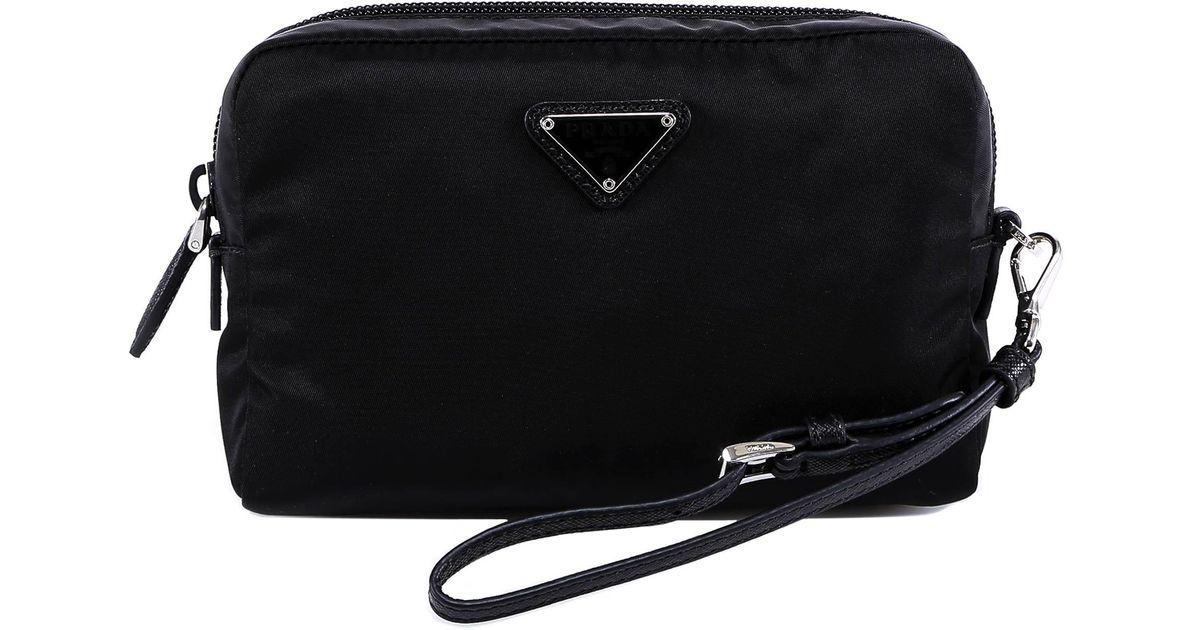 acab9f4a03fe ... new arrivals prada makeup bag in black lyst eeccc f8269
