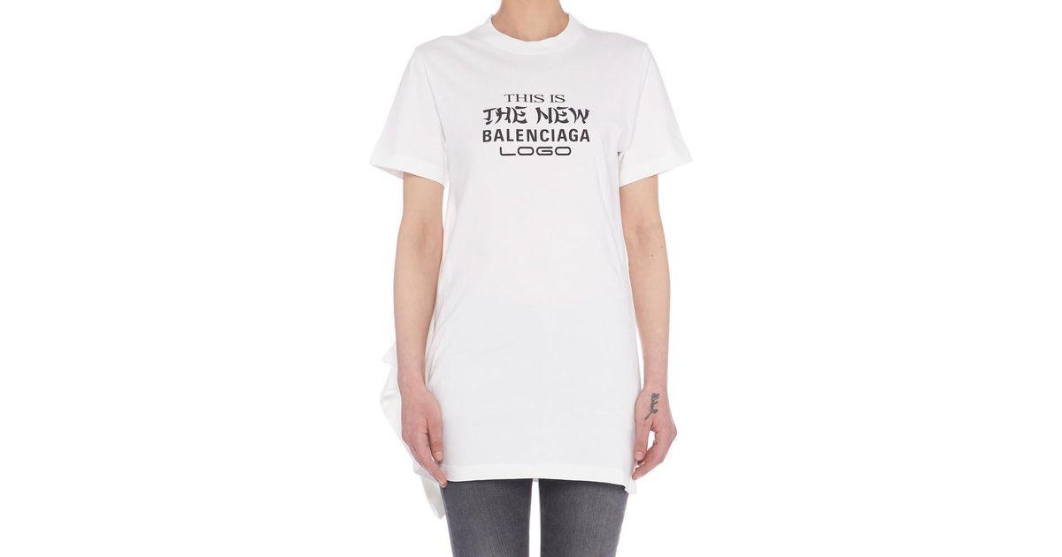 ea0b992f5 Balenciaga New Logo T-shirt in White - Lyst