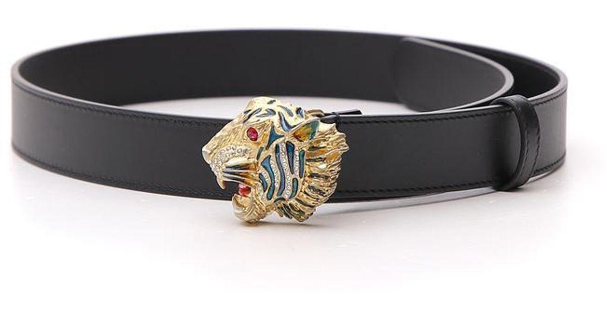 27068ff32c4 Gucci Tiger Head Buckle Belt in Black - Lyst