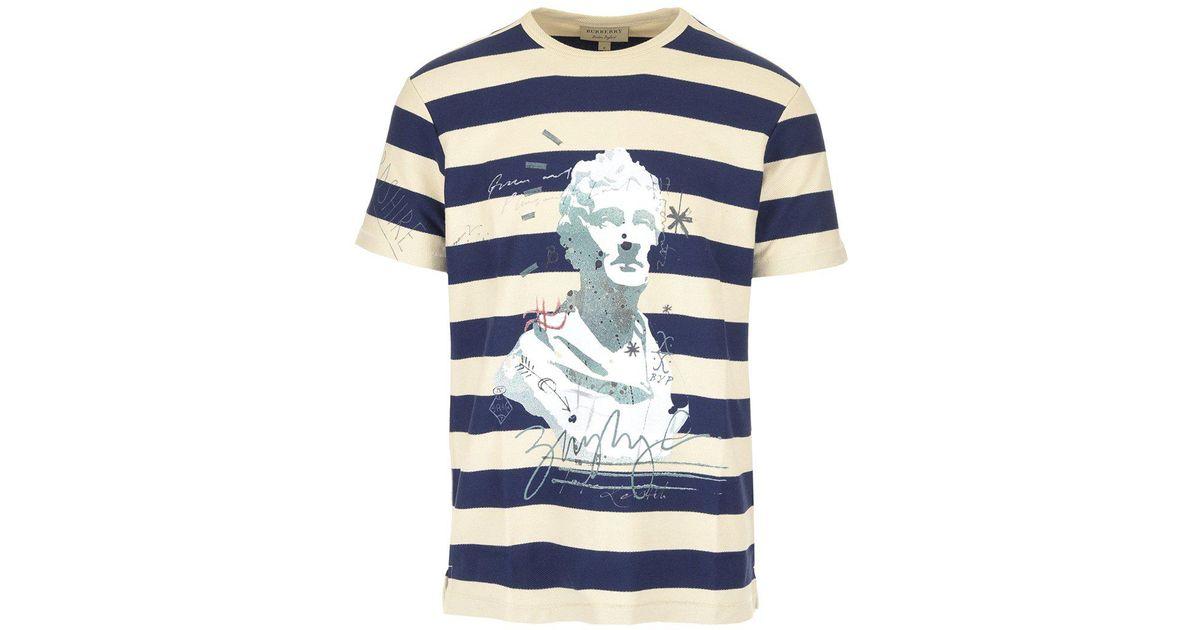 5d6e3830 Lyst - Burberry Statue Print Stripe T-shirt in Blue for Men