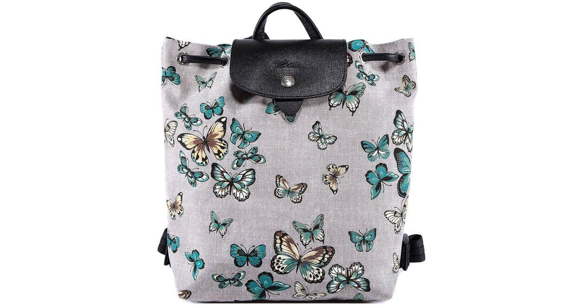 Longchamp Gray Le Pliage Papillon Backpack