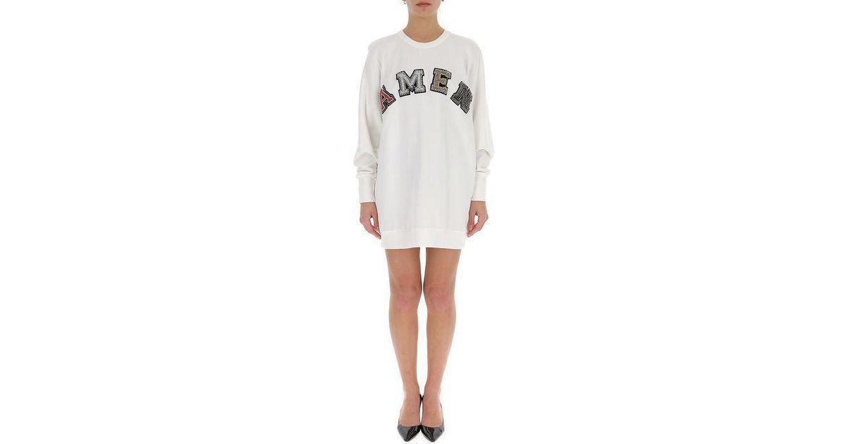 0ea06811beb0 Amen Logo Sweater Dress in White - Lyst
