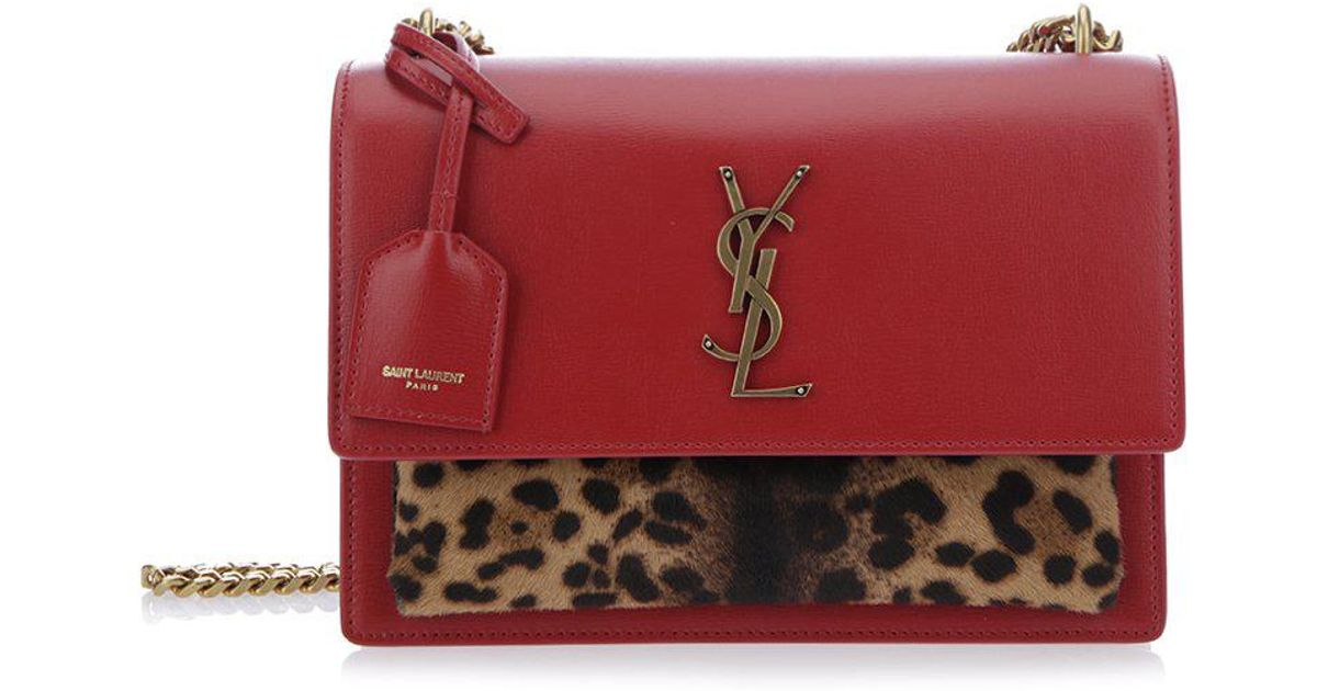 5f76aba545b1 Lyst - Saint Laurent Leo Print Shoulder Bag in Red