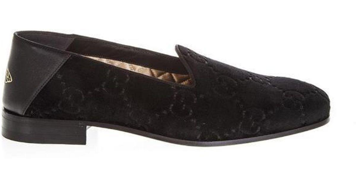 b75cf9e3f3d Gucci Velvet Monogram Loafers in Black for Men - Lyst
