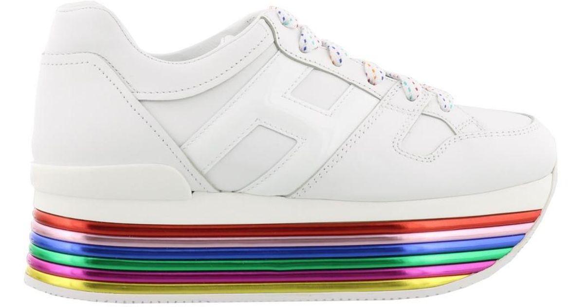 Hogan Leather Rainbow Platform Sneakers