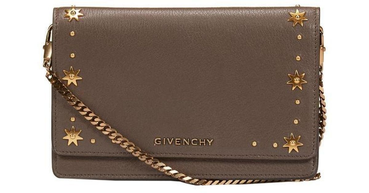 12e807fb49a5 Lyst - Givenchy Pandora Chain Strap Clutch in Gray