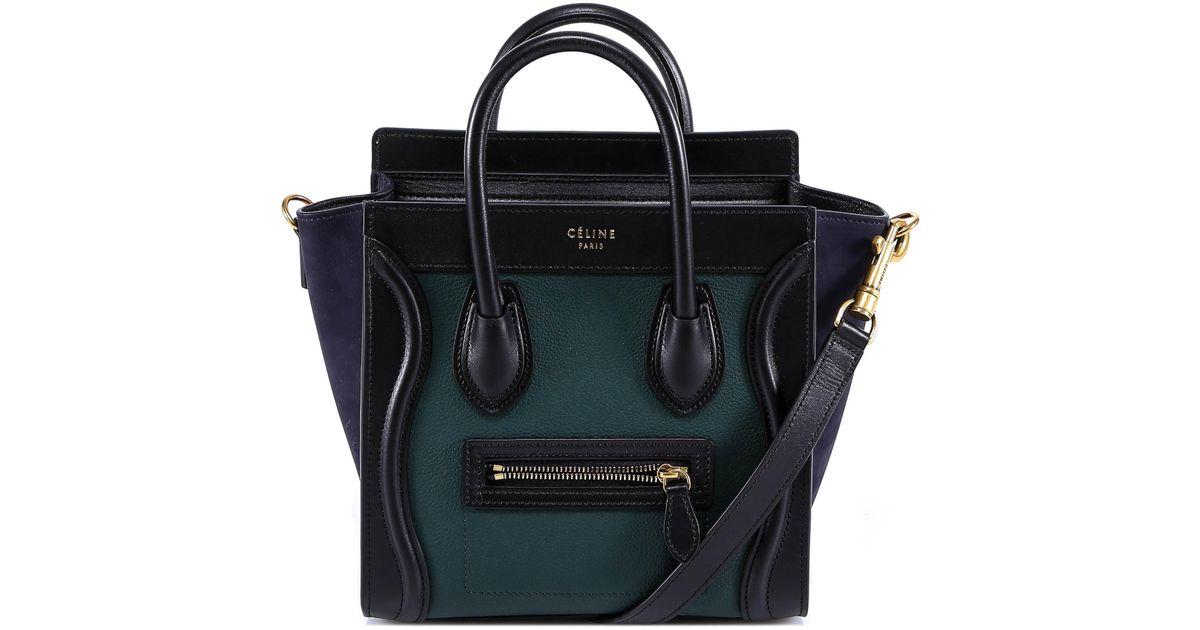 9a56b0d450 Céline Colour Block Nano Luggage Bag in Green - Lyst