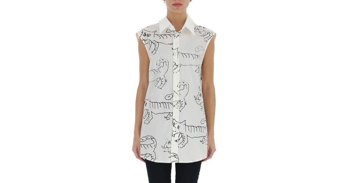 6b1c9727c57bf0 Lyst - Marni Tiger Print Blouse in White