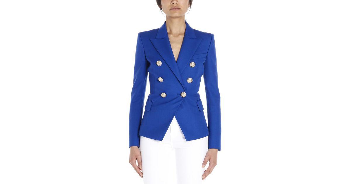 47874616 Balmain Double Breasted Blazer in Blue - Lyst