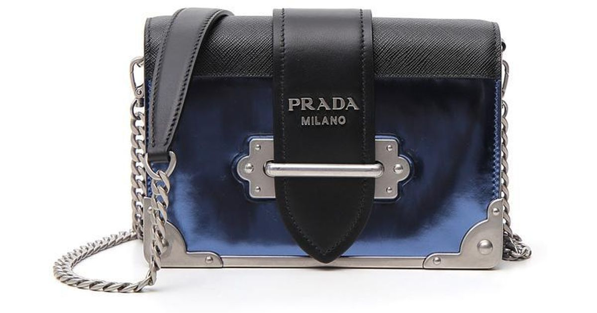 998f2b4ae8017b Prada Structured Chest Shoulder Bag in Blue - Lyst