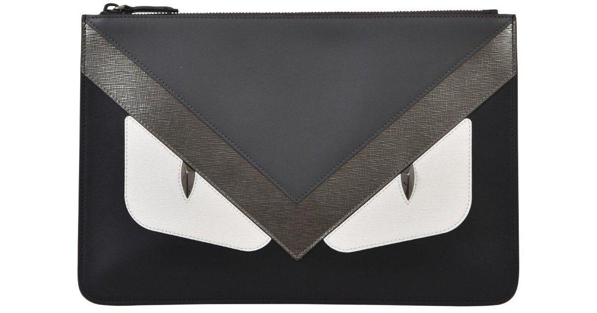 Lyst - Fendi Bag Bugs Clutch Bag in Black 67081268de7e0