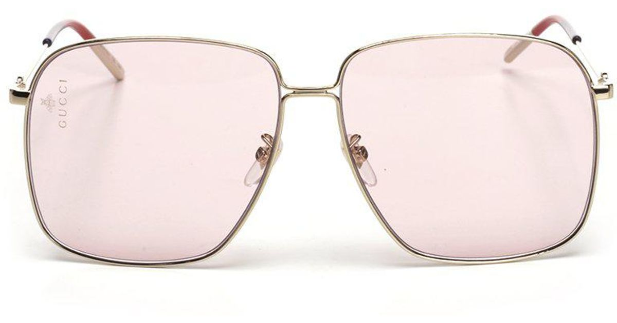 498c45608f7 Gucci Square Frame Sunglasses in Pink - Lyst