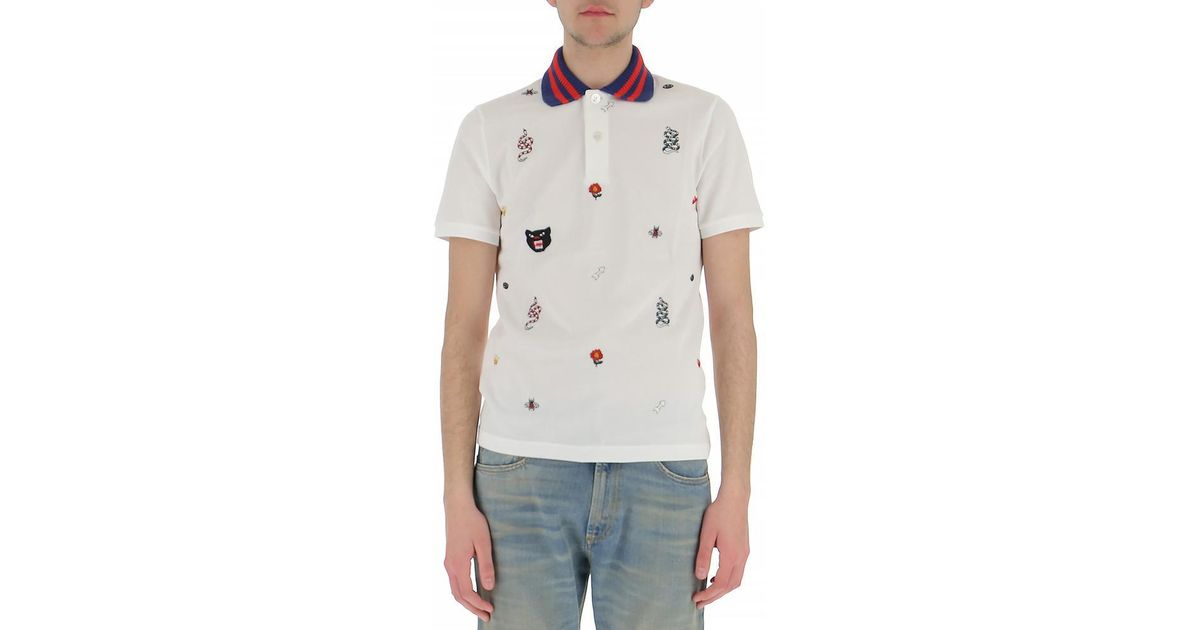 968d484ddfd Lyst - Gucci Embroidered Polo Shirt for Men