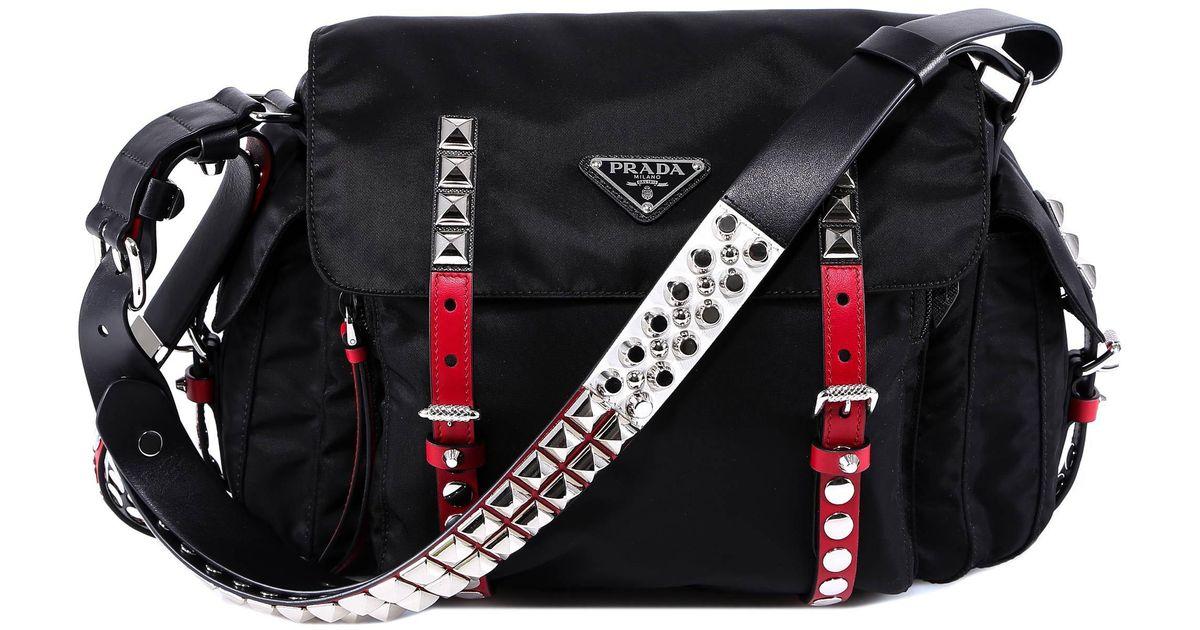 d6e6ab7e0b3c Lyst - Prada Studded Strap Shoulder Bag in Black