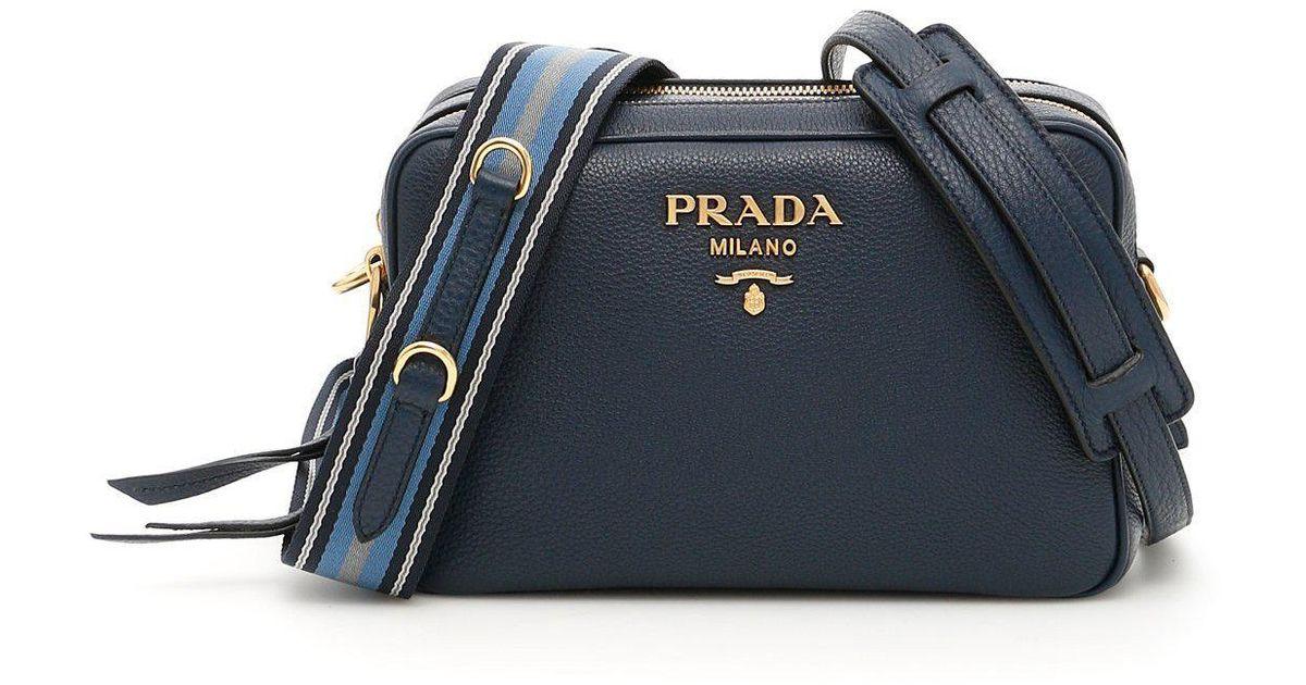 Prada Double Zip Shoulder Bag in Blue - Lyst 74f40da75bfab