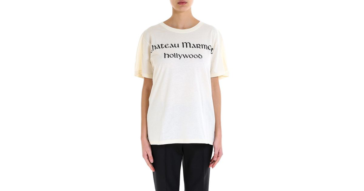 5f615fdc4 Gucci Chateau Marmont T-shirt in White - Lyst
