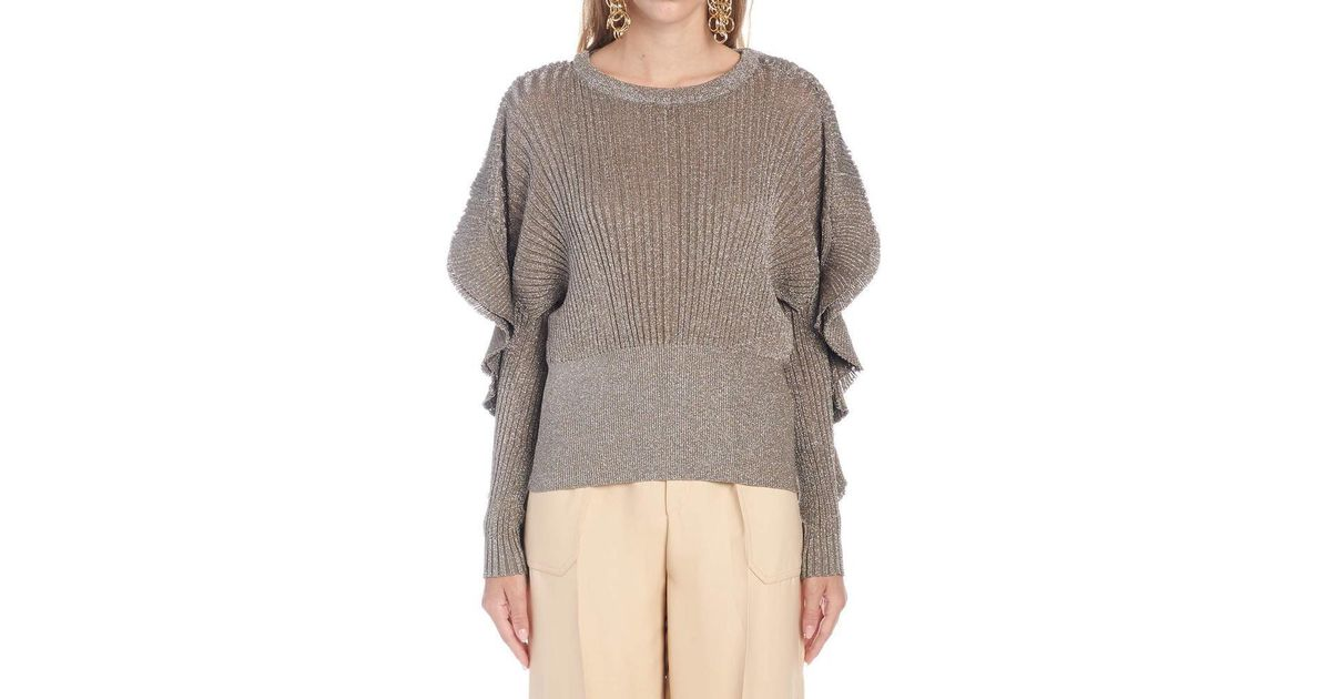 Lyst Chloé Ruffle Sleeve Shimmer Sweater In Brown