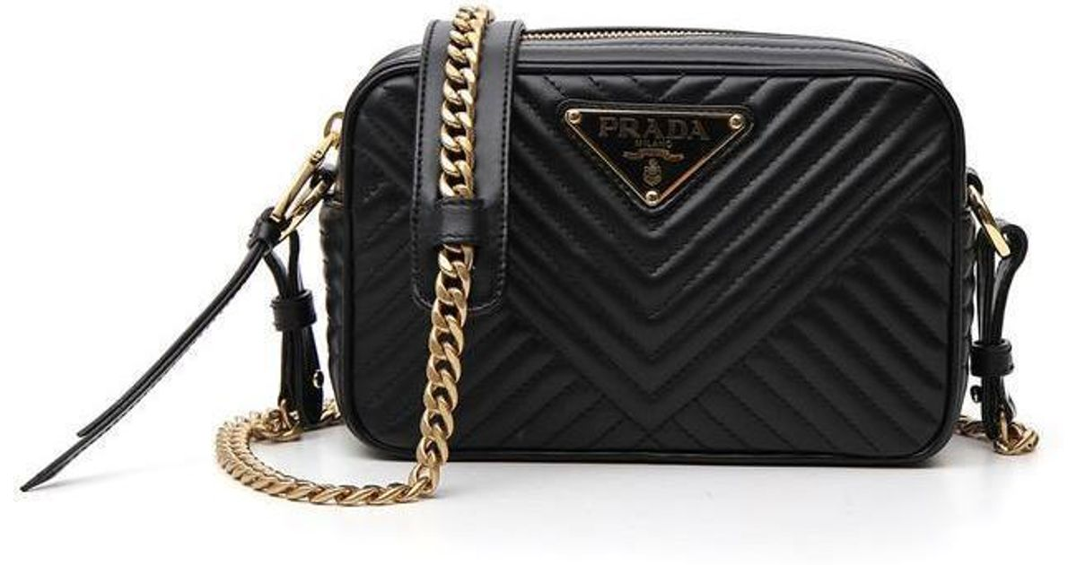 55046231d03a Prada Quilted Chain Shoulder Bag in Black - Lyst