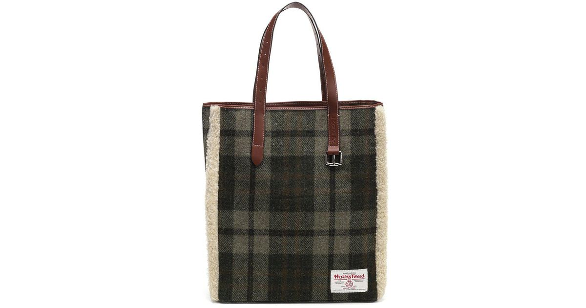 d9bb3e217714 Lyst - JW Anderson Harris Tweed Checked Shearling Tote Bag in Green