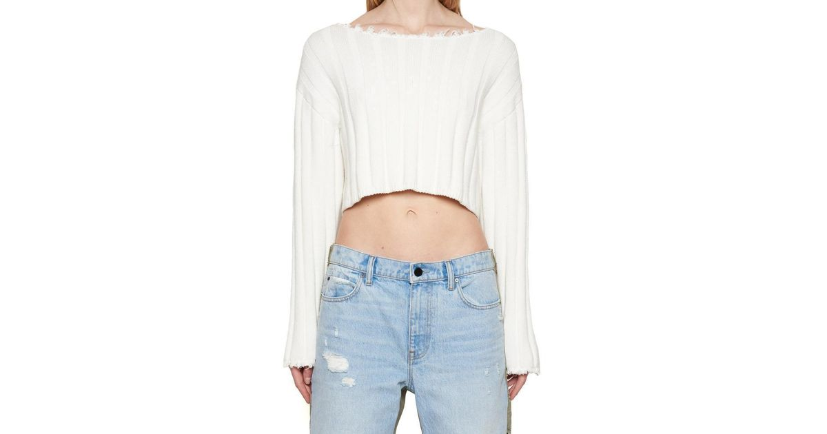 7f16b22c3932 Lyst - T By Alexander Wang Raw Edge Sweater in White