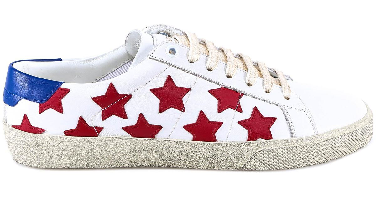 21f50052483 Lyst - Saint Laurent Star Print Sneakers in White