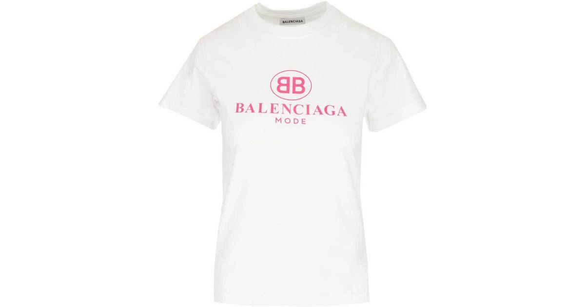 37edd4e66 Lyst - Balenciaga Bb Logo T-shirt in White