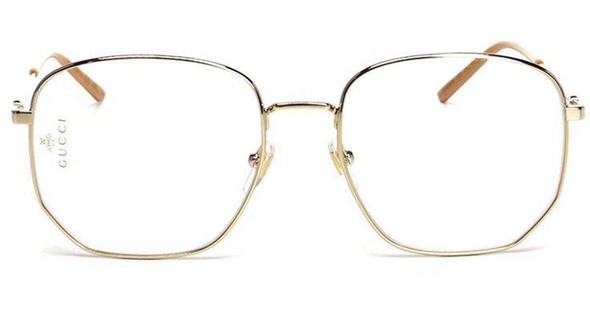 aeb47c43814 Gucci Rectangular-frame Metal Sunglasses in Metallic - Lyst