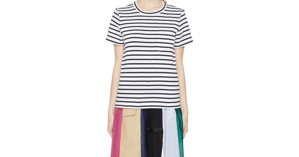 064624c4 Lyst - Sacai Striped T-shirt in Blue