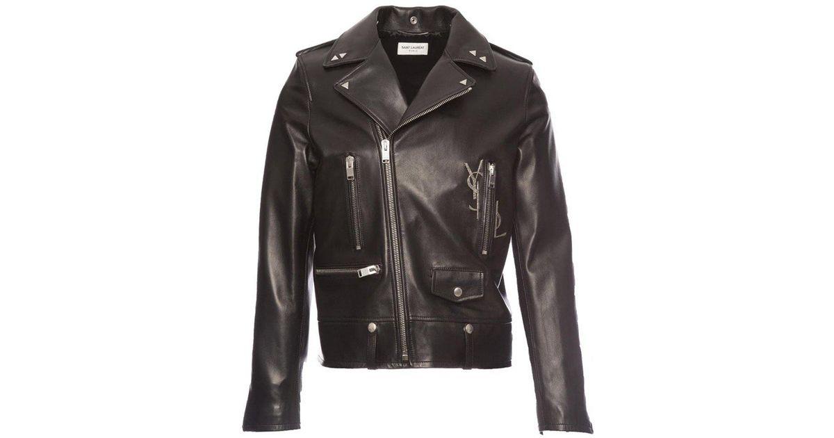 068910c51e Saint Laurent Black Ysl Studded Biker Jacket