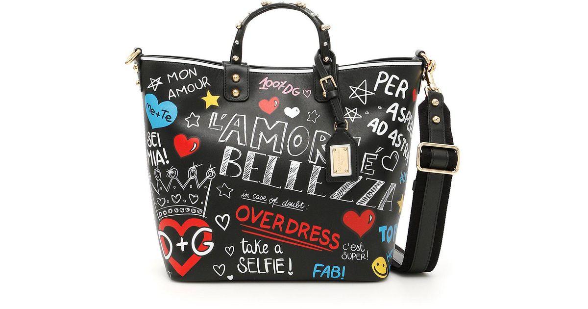 Lyst - Dolce   Gabbana Beatrice Graffiti Tote Bag in Black 49ca5f58a0