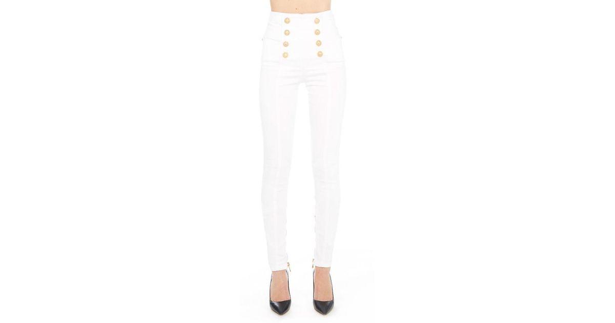 335a1794 Balmain Slim Fit Button Detail Jeans in White - Lyst
