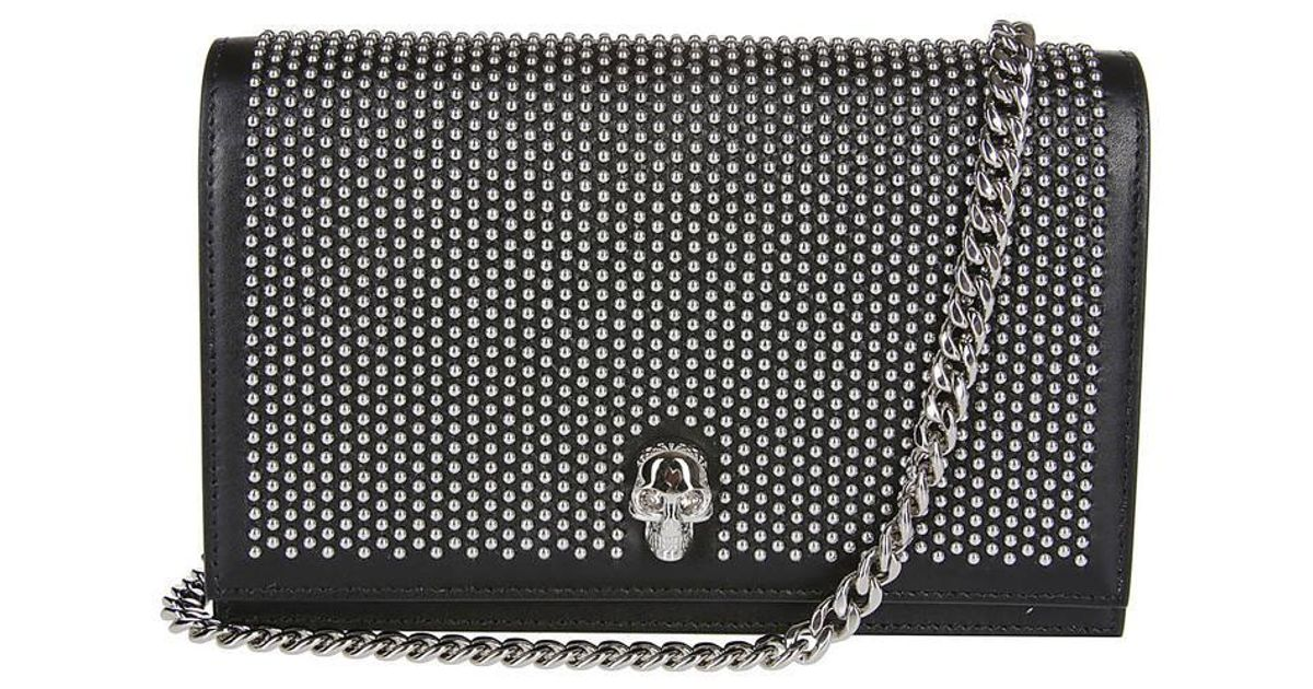 Alexander Mcqueen Black Studded Skull Crossbody Bag