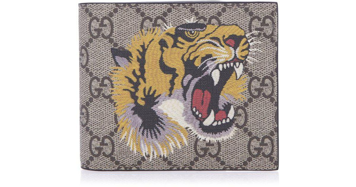 34a66ae42e31 Gucci GG Supreme Embroidered Tiger Billfold Wallet in Natural for Men - Lyst