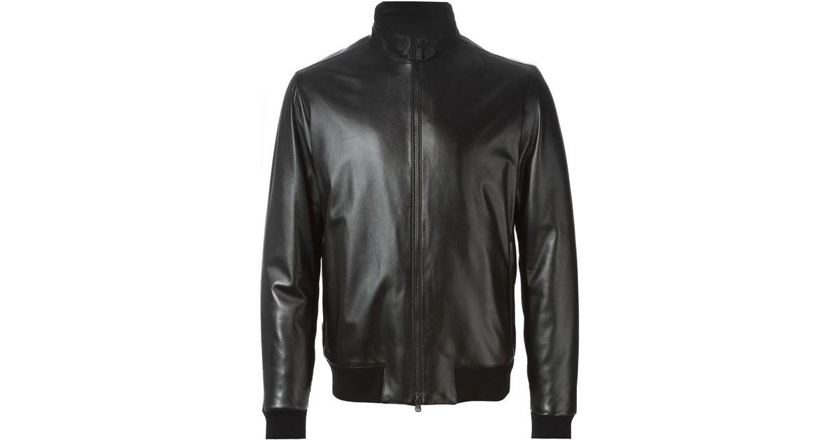 f3b85a2d53 Z Zegna Black High Neck Zipped Leather Jacket for men