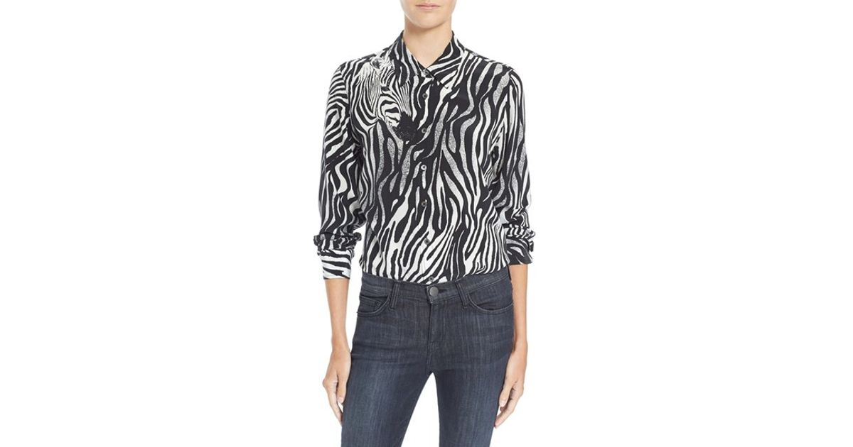 Lyst equipment 39 brett 39 zebra print silk shirt in black for Equipment black silk shirt