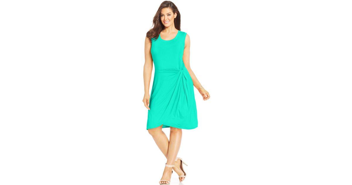 Spense Green Plus Size Sleeveless Faux-Wrap Dress