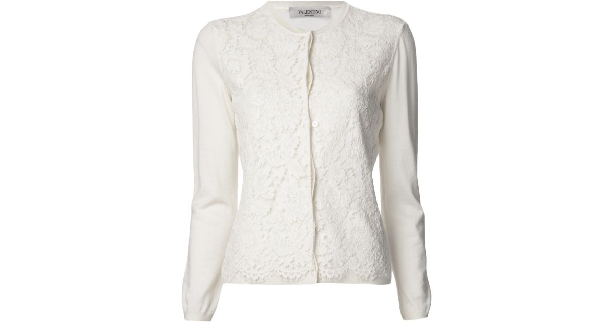 Valentino Lace Cardigan in White | Lyst