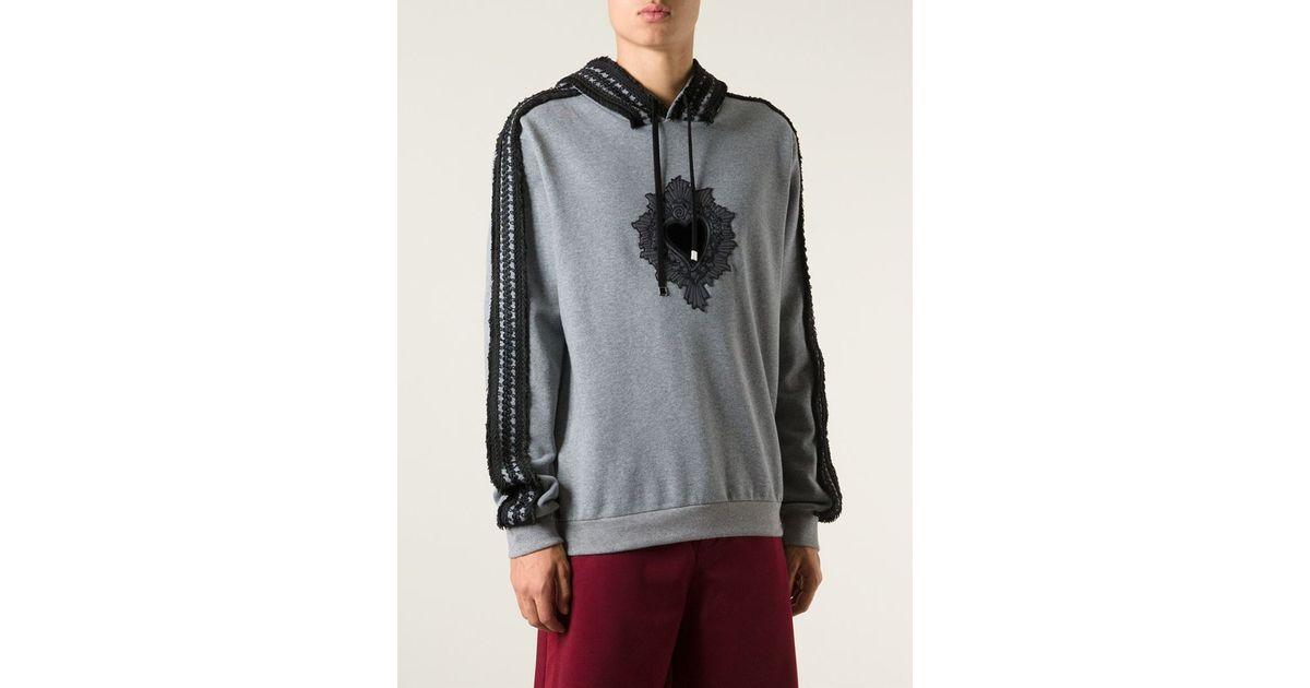 Dolce gabbana sacred heart appliqué hoodie in gray for men lyst