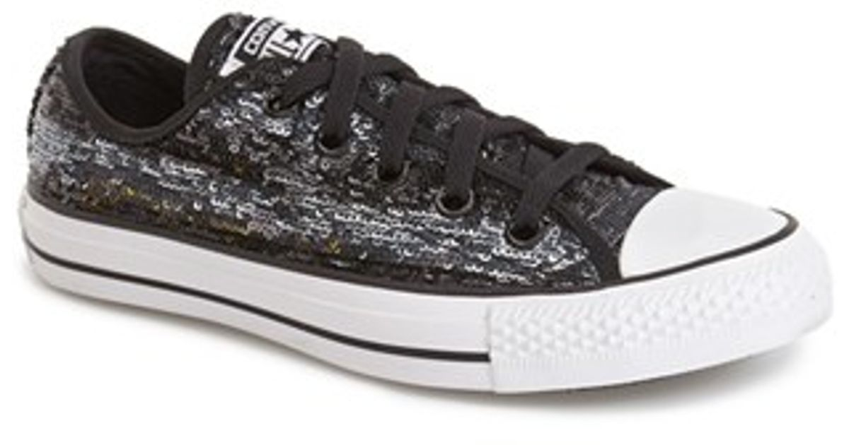 5cfe2f8b59a Lyst - Converse Chuck Taylor All Star  Sequin Flag  Low Top Sneaker in Black