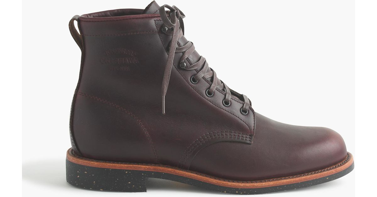 chippewa original leather plain toe boots in brown for